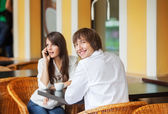 Man and woman dating at cafe — Stock Photo