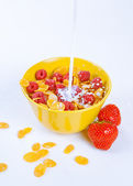 Bowl of cereal flakes, raspberries and milk — Stockfoto