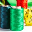 Spools of thread and measuring tape — Stock Photo