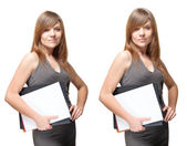 Various emotions of cute woman with documents — Stock Photo