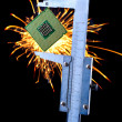 Stock Photo: Microprocessor in caliper