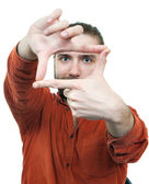 The young man gesturing hand frame against — Stock Photo