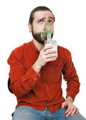The man doing inhalation — Stock Photo