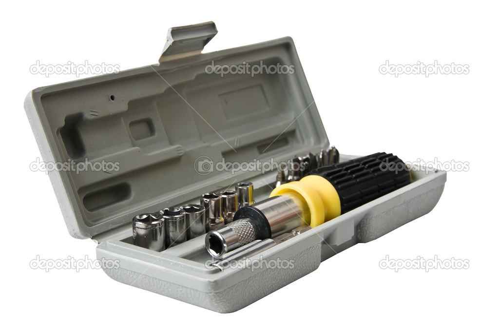 Screwdriver with different nozzles in a box — Stock Photo #14107868