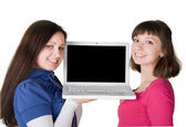 Girs with laptop — Stock Photo