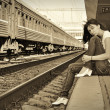 girl at the station — 图库照片