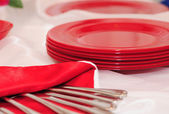 Red plates — Stock Photo