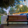 Bench in night park — Stock Photo