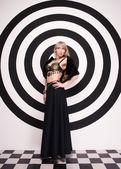 Woman in exotic dress and bra — Zdjęcie stockowe