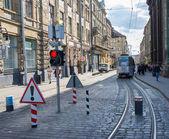 Tram rides through the historic center — Stock Photo