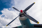 Propeller on airplane wing — Stock Photo