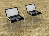 Illustration of a laptop as beach seat — Stock Photo