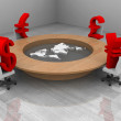 Stock Photo: Illustration of conference room with trade currency and world map