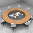 Illustration of a conference room with a round table and world map — Stock Photo