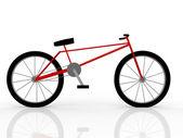 白で隔離される赤い自転車の図 — ストック写真