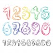 hand drawn numbers — Stock Vector