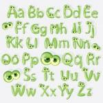 Cartoon green alphabet with eyes — Stock Vector #24664677