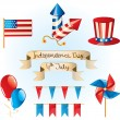 4th July Independence Day set, vector — Stock Vector
