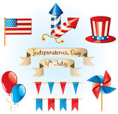 4th July Independence Day set, vector — Stockvektor