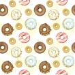 Stock Vector: Seamless donuts background