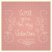 Will you be my Valentine pink retro Valentine s Day card — Stock Vector