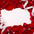 Greeting card note rose petals celebration christmas love — Stock Photo #11409334