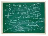 Math formulas on school blackboard education — Stock Photo