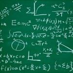 Постер, плакат: Math formulas on school blackboard education