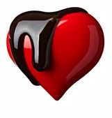 Chocolate syrup leaking heart shape love — Stock Photo