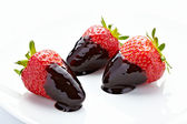 Strawberry with chocolate candy dessert fruit — Stock Photo