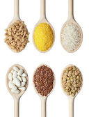 Beans rice and food ingredients — Stock Photo
