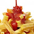 French fries and ketchup unhealthy fast food - Stock Photo