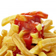 French fries and ketchup unhealthy fast food — Stock Photo #13710391