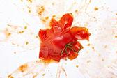 Damlacıklarıyla domates sebze yemek sıçradı — Stok fotoğraf