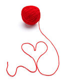 Wool knitting heart shape love — Stock Photo