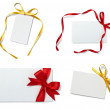 Greeting card with ribbon note — 图库照片