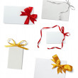 Greeting card with ribbon note - Stock Photo