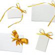 Greeting card with ribbon note — Stock Photo