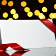 Greeting card with ribbon note christmas lights — ストック写真 #13767918