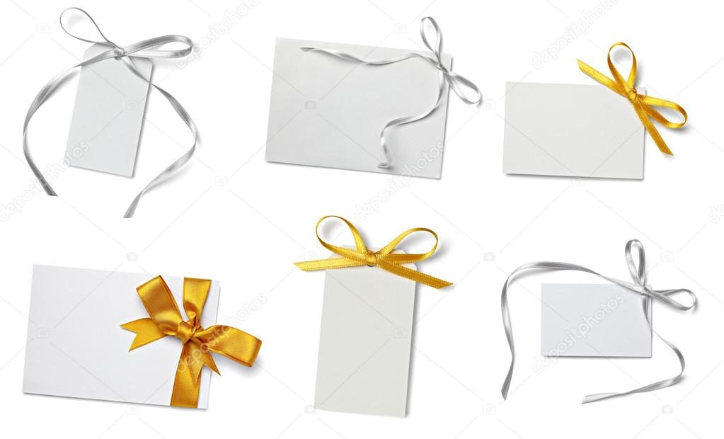 Collection of  various card notes with ribbon on white background.each one is shot separately  — Stock Photo #13765208