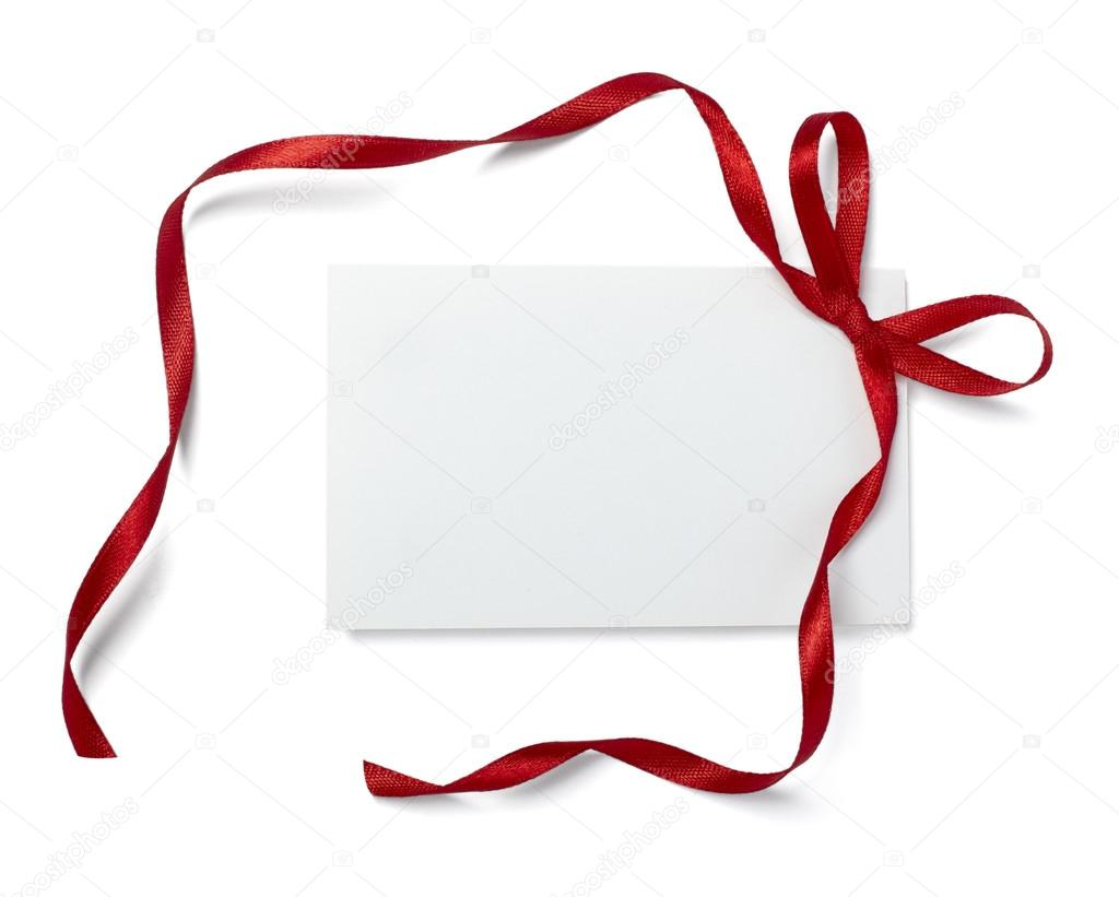 Close up of  card note with red ribbon on white background  with clipping path — Stock Photo #13765734