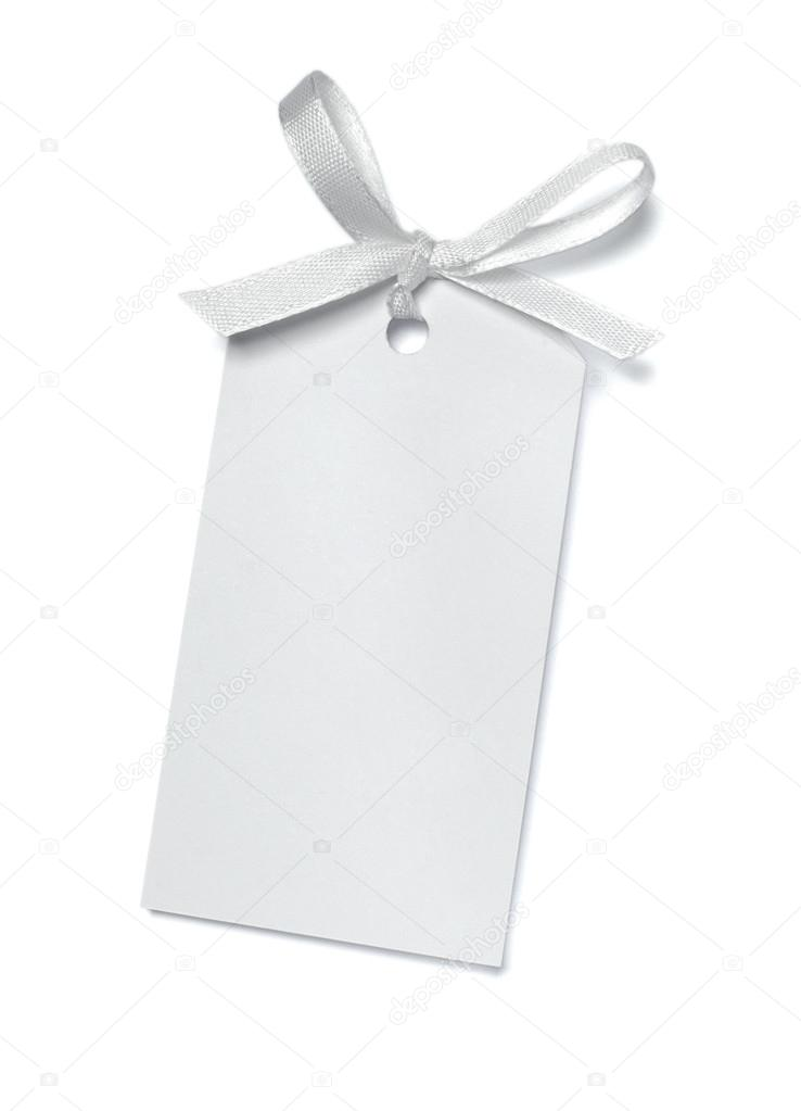 Close up of  card note with  ribbon on white background  with clipping path — Stock Photo #13766078