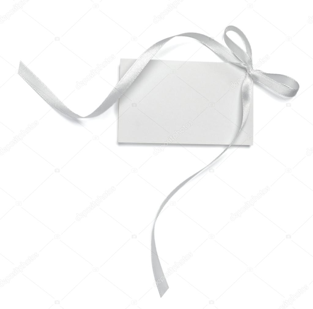 Close up of  card note with  ribbon on white background  with clipping path — Stock Photo #13766101