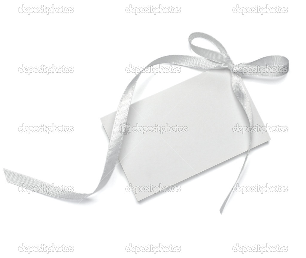 Close up of  card note with  ribbon on white background  with clipping path — Stock Photo #13766119
