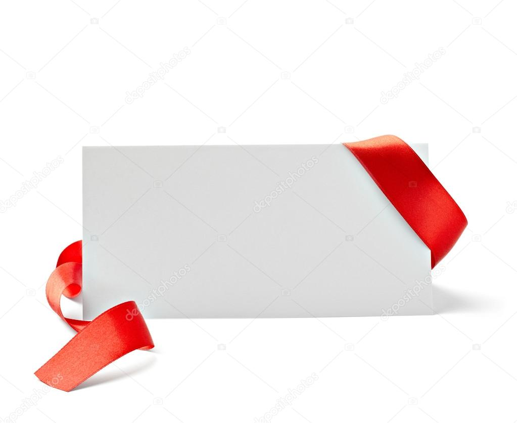 Close up of  card note with  ribbon on white background  with clipping path — Stock Photo #13771008