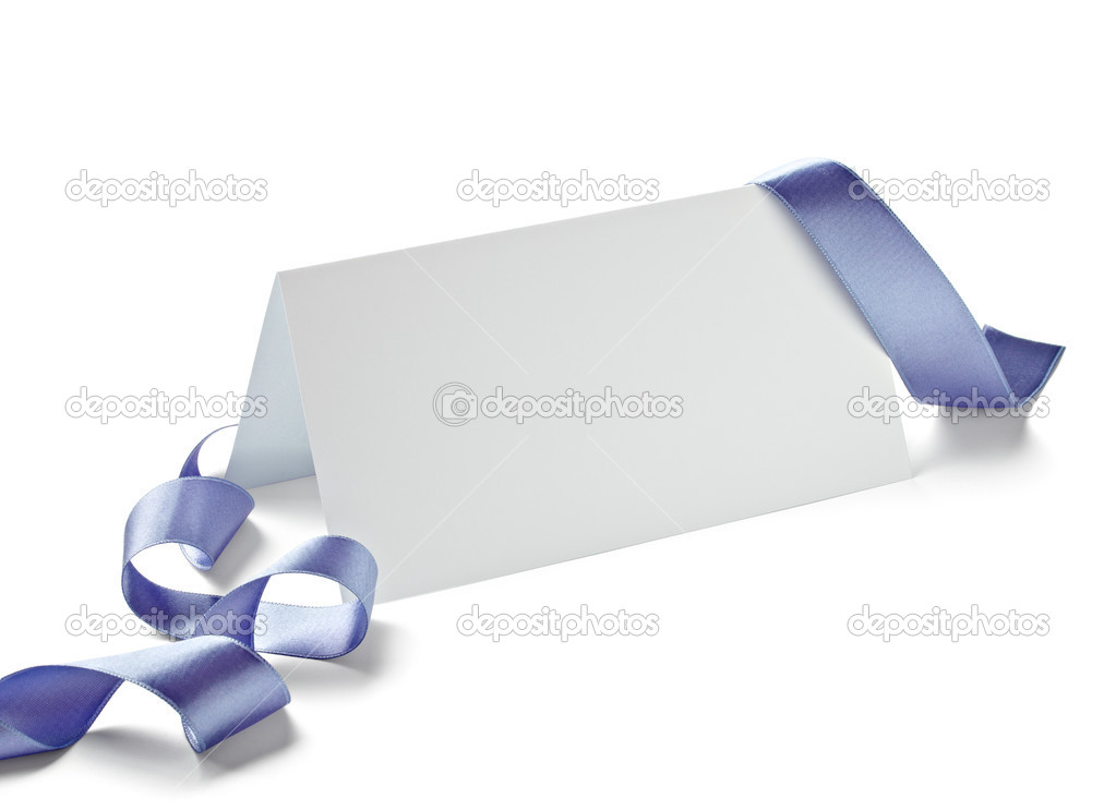 Close up of  card note with  ribbon on white background  with clipping path — Stock Photo #13772028