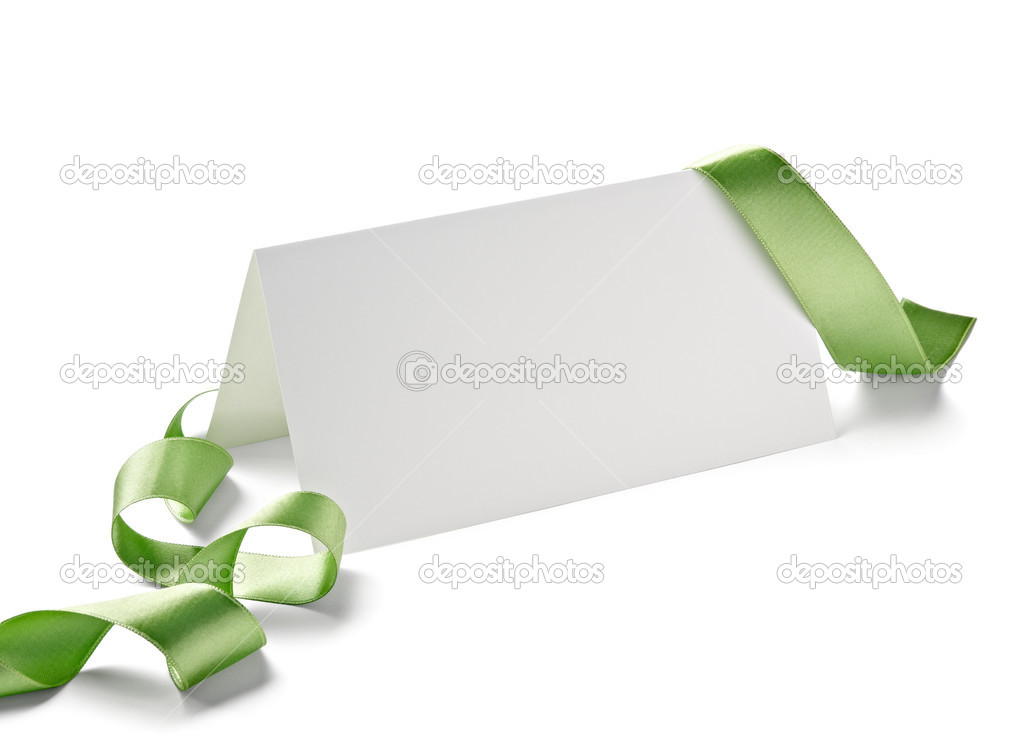 Close up of  card note with  ribbon on white background  with clipping path — Stock Photo #13772181