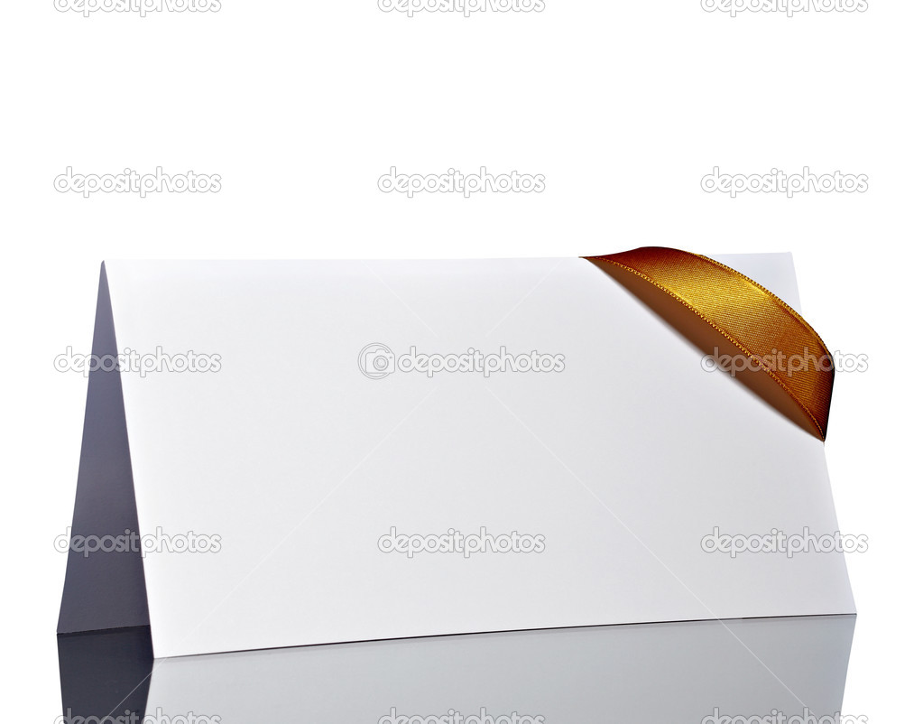 Close up of  card note with  ribbon on white background  with clipping path  Stock Photo #13772216