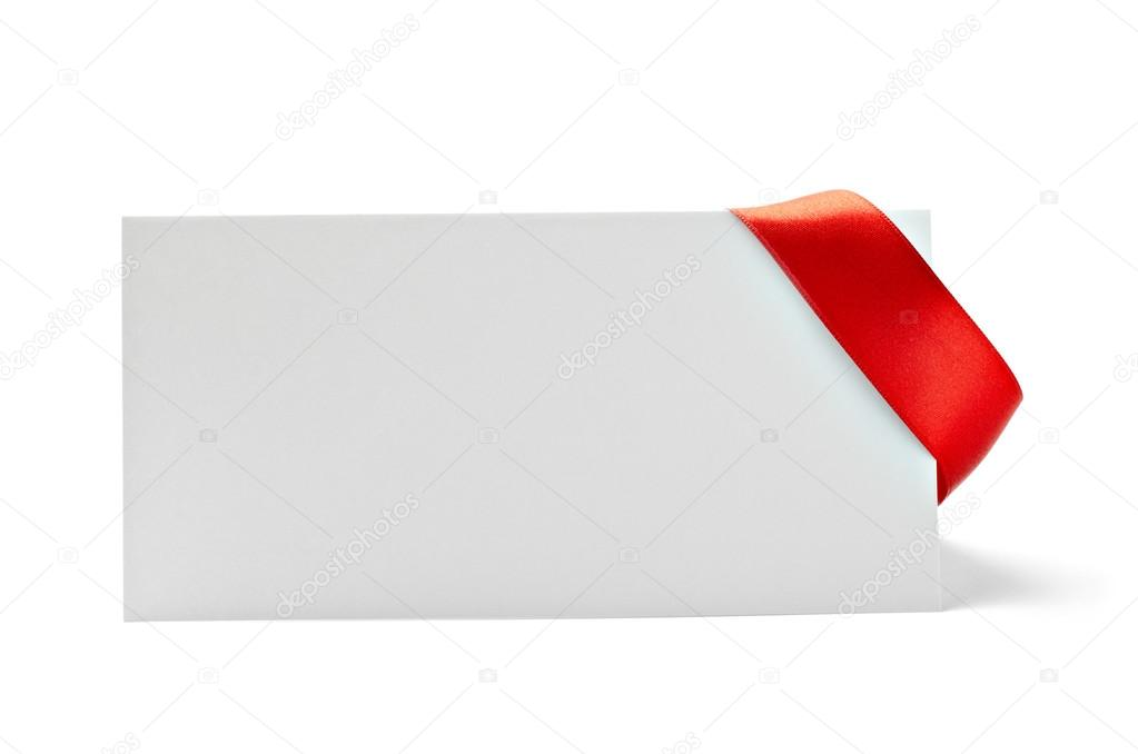 Close up of  card note with  ribbon on white background  with clipping path — Stock Photo #13772961