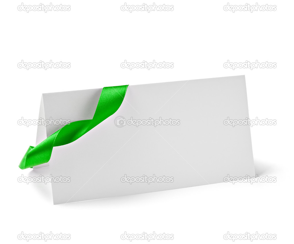 Close up of  card note with  ribbon on white background  with clipping path — ストック写真 #13773050